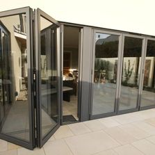Multi options on bi-fold doors with various opening sizes.